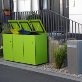 Knallig neongrüne MÜTO - Design Mülltonnenbox in Hanau