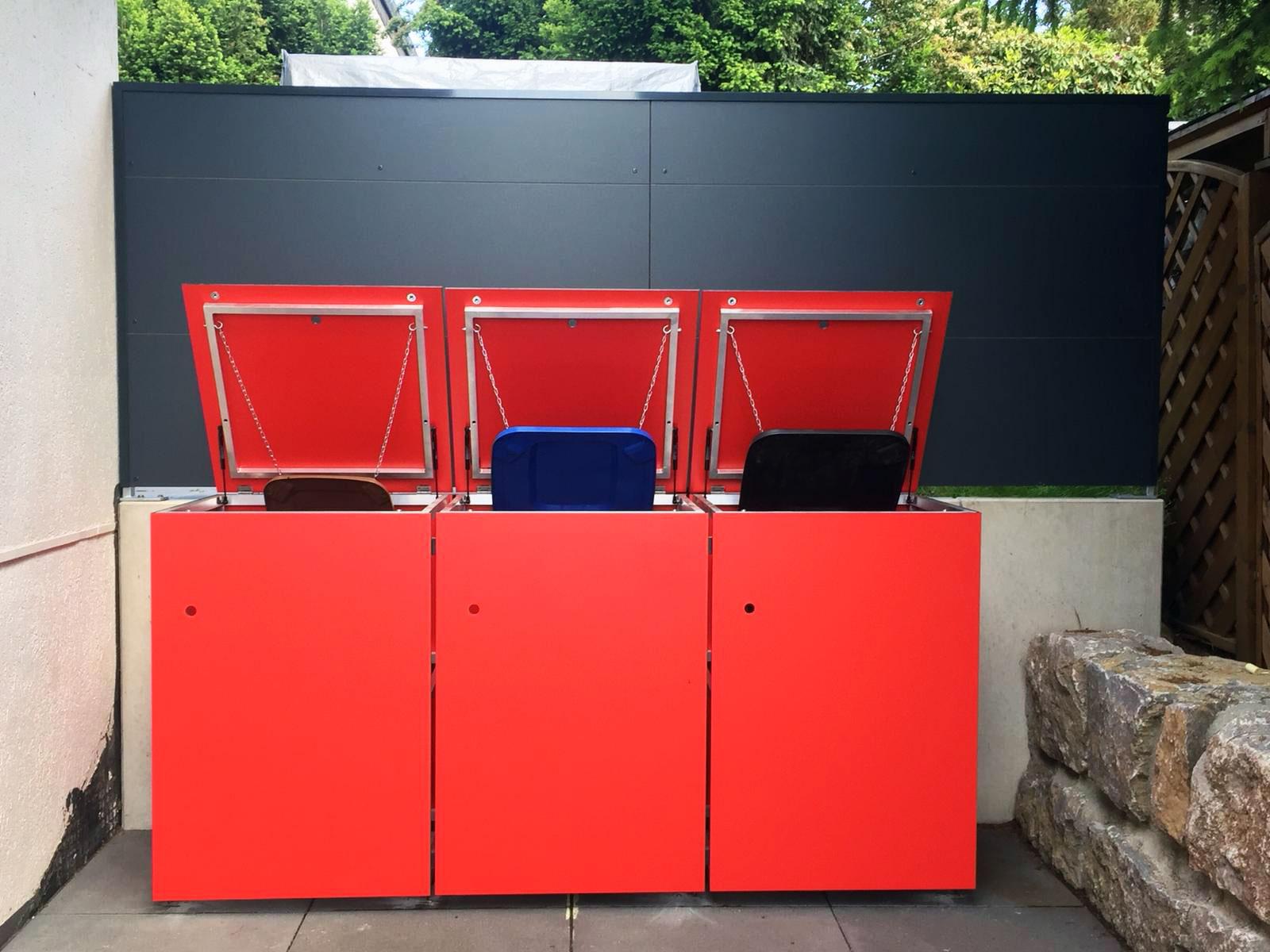 MÜTO – Design Mülltonnenbox und BLICKFANG – Design Sichtschutz bei Darmstadt