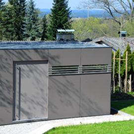 CUBE - Design Gartenhaus mit großen TRESPA®️ Paneelen in Amberg
